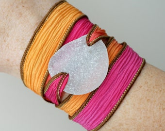 Clear Sea Glass on Hot Pink and Orange Silk Wrap Bracelet