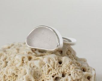 Light Lavender Sea Glass Ring, Size 9.5