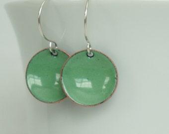 Spring Green Enamel Earrings