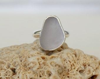 Light Lavender Sea Glass Ring, Size 7