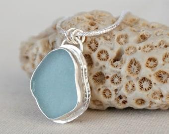 Soft Aqua Blue Sea Glass Pendant