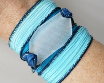 Clear Sea Glass on Navy, Aqua, and Light Blue Silk Wrap Bracelet