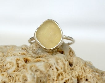 Yellow Sea Glass Stacking Ring, Size 7