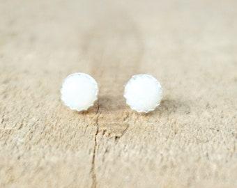 White Aura Opal Stud Earrings, 5mm