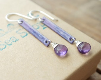 Purple Enamel and Amethyst Earrings