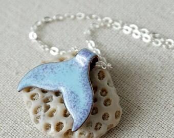 Purple on Light Blue Enamel Mermail Tail Necklace