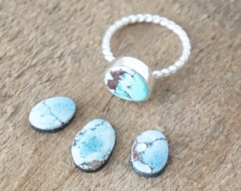 Choose Your Size and Band - Kazakhstan Lavender Turquoise Stacking Ring