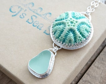 Seafoam Green Sea Glass and Ceramic Coral Pendant