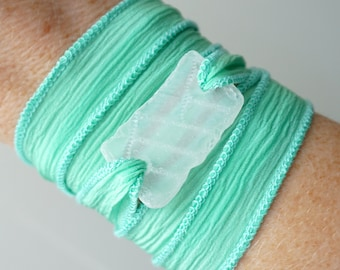 Clear Sea Glass on Seafoam Green Silk Wrap Bracelet
