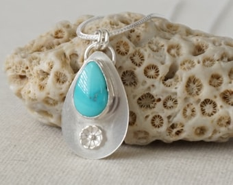 Sleeping Beauty Turquoise and Sterling Silver Flower Pendant