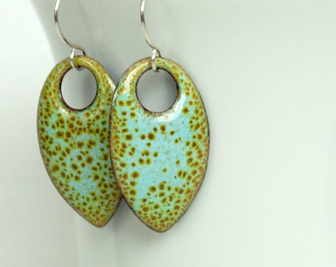 Featured listing image: Robin's Egg Blue and Lime Green Enamel Teardrop Earrings