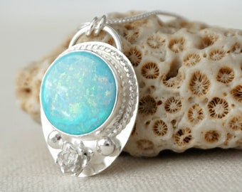 Atlantis Opal with Sterling Silver Flower Necklace