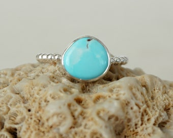 Turquoise Stacking Ring, Size 10 - Turquoise Ring, Turquoise Jewelry, Stacking Jewelry, Stacker Ring, Sterling Silver Ring Jewelry