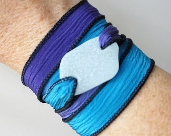 Clear Sea Glass on Purple and Blue Silk Wrap Bracelet