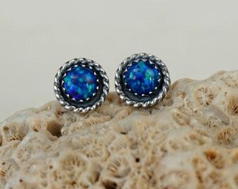 Cobalt Blue Aura Opal Stud Earrings