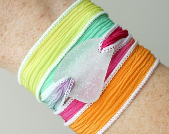 Clear Sea Glass on Pink, Orange, and Aqua Blue Silk Wrap Bracelet