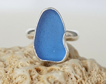 Cornflower Blue Sea Glass Ring, Size 6