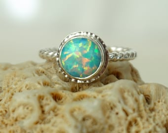 Seafoam Green Aura Opal Stacking Ring, Size 6 1/2