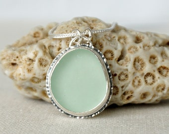Seafoam Green Sea Glass Pendant