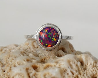 Dark Purple Aura Opal Stacking Ring, Size 5 1/2