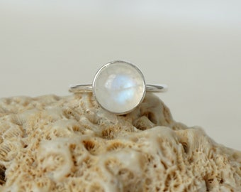 Rainbow Moonstone Stacking Ring, Size 6
