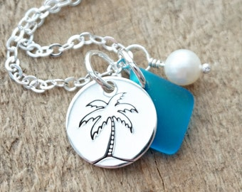 Sterling Silver Palm Tree with Aqua Blue Sea Glass and Pearl Pendant
