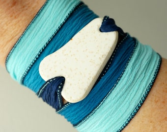 CLEARANCE White Sea Pottery on Navy, Aqua, and Light Blue Silk Wrap Bracelet