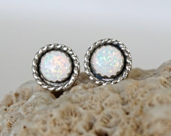 White Aura Opal Stud Earrings
