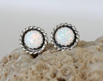 RESERVED White Aura Opal Stud Earrings