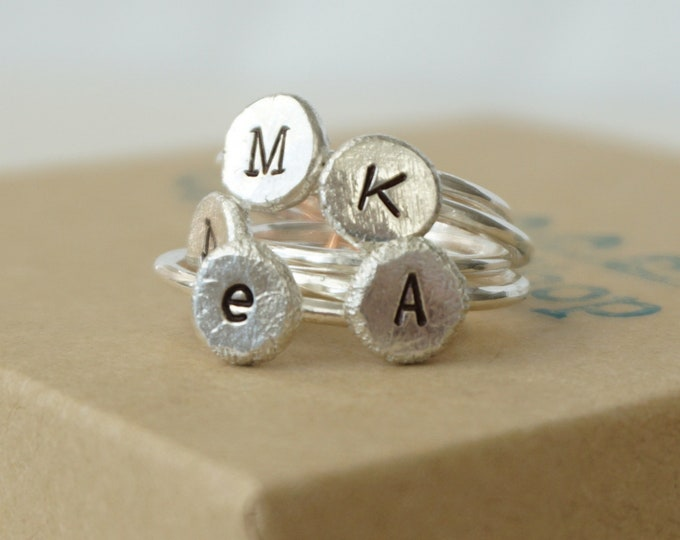 Featured listing image: Hand Stamped Initial Stacking Ring on Recycled Sterling Silver - Choose Your Font