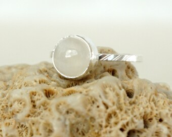 Choose Your Size and Band - Rainbow Moonstone Stacking Ring
