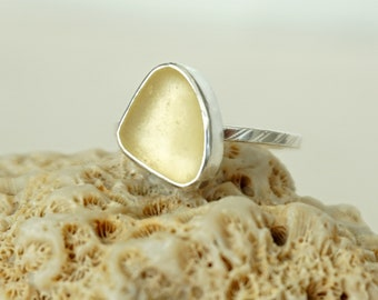 Yellow Sea Glass Stacking Ring, Size 7 1/2