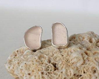 Pink Sea Glass Stud Earrings