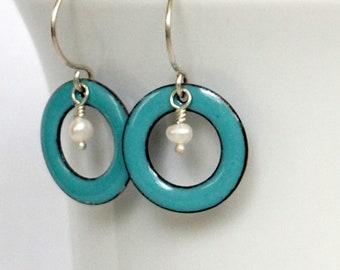 Light Teal Enamel Circle and Pearl Earrings