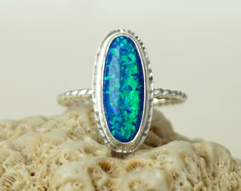 Cobalt Blue and Green Aura Opal Stacking Ring, Size 9