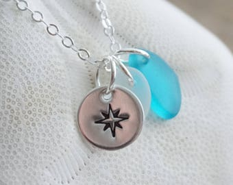 Sterling Silver Compass Rose with Aqua and Clear Sea Glass Pendant