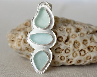 Soft Aqua Blue Sea Glass Pendant
