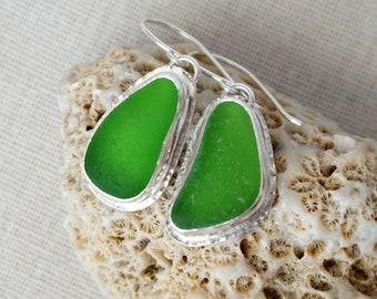 Kelly Green Sea Glass Drop Earrings