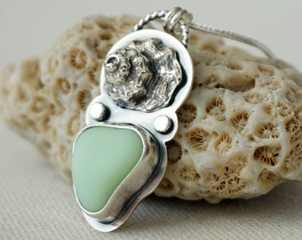 Seafoam Green Milk Glass Sea Glass and Seashell Pendant