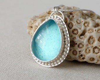 Aqua Blue Antique Insulator/Railroad Glass Pendant
