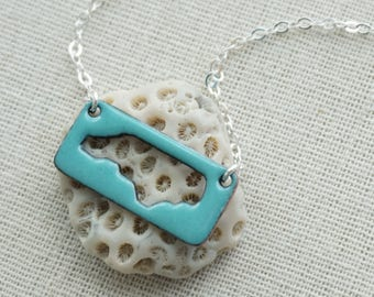 Light Teal North Carolina Enamel Cutout Bar Necklace