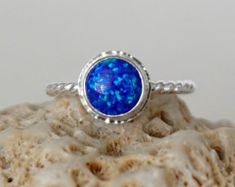 Cobalt Blue Aura Opal Stacking Ring, Size 8