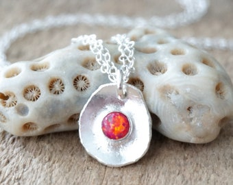 Hot Pink Aura Opal on Fine Silver Pendant