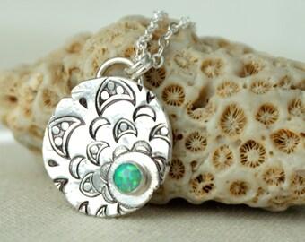 Green Aura Opal on Handstamped Mandala Silver Pendant