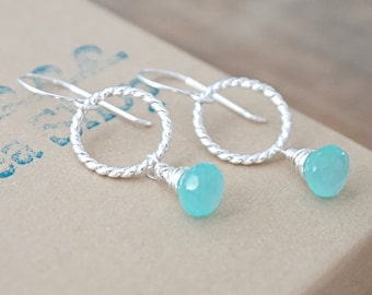 Aqua Chalcedony on Twist Rings Earrings