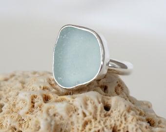 Soft Aqua Blue Sea Glass Ring, Size 7 3/4