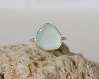 Soft Aqua Blue Sea Glass Stacking Ring, Size 5 1/2