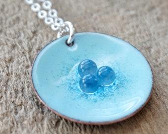 Light Blue and Cobalt Blue Enamel Pendant