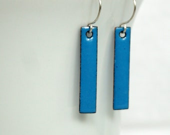 Bright Blue Enamel Bar Earrings