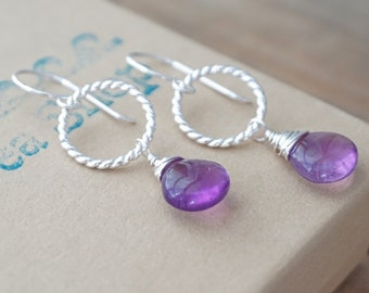 Amethyst and Twist Ring Earrings